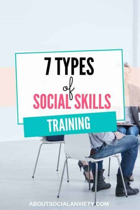 People in a circle with text overlay - 7 Types of Social Skills Training