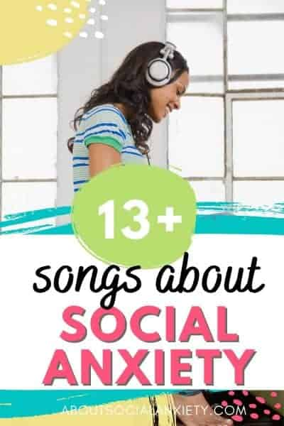 Woman listening to music with text overlay - 13+ Songs about Social Anxiety
