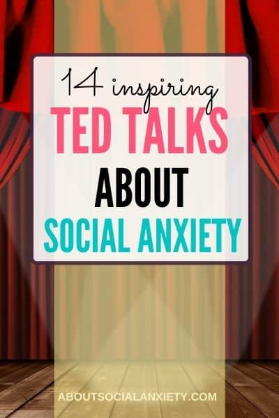 Stage with text overlay - 14 Inspiring TED talks about social anxiety
