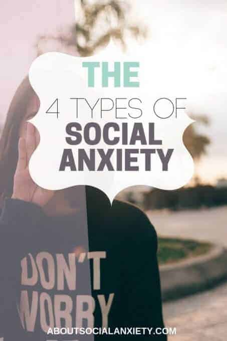 Anxious girl with text overlay - The 4 Types of Social Anxiety