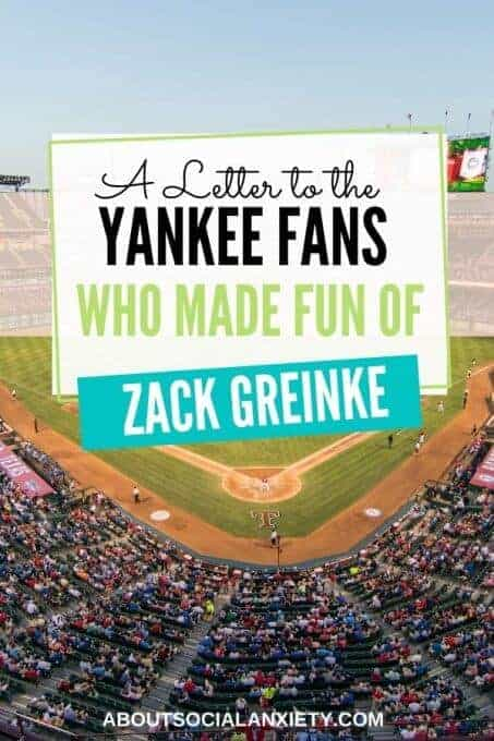 Baseball stadium with text overlay - A Letter to the Yankee Fans Who Made Fun of Zack Greinke
